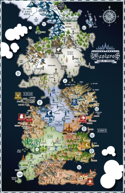 Game of Thrones - Westeros Map - 17x11 Poster